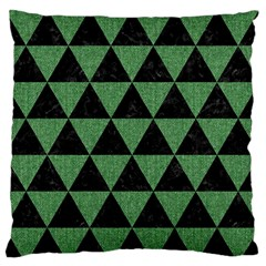 Triangle3 Black Marble & Green Denim Large Flano Cushion Case (one Side) by trendistuff