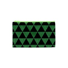 Triangle3 Black Marble & Green Denim Cosmetic Bag (xs) by trendistuff
