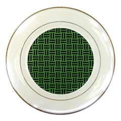 Woven1 Black Marble & Green Denim Porcelain Plates by trendistuff