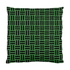 Woven1 Black Marble & Green Denim Standard Cushion Case (one Side) by trendistuff