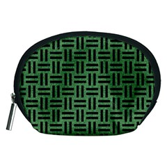 Woven1 Black Marble & Green Denim Accessory Pouches (medium)  by trendistuff