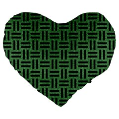 Woven1 Black Marble & Green Denim Large 19  Premium Flano Heart Shape Cushions by trendistuff