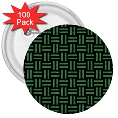 Woven1 Black Marble & Green Denim (r) 3  Buttons (100 Pack)