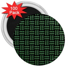 Woven1 Black Marble & Green Denim (r) 3  Magnets (100 Pack) by trendistuff