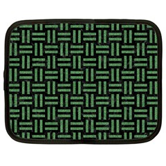 Woven1 Black Marble & Green Denim (r) Netbook Case (large) by trendistuff