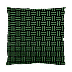 Woven1 Black Marble & Green Denim (r) Standard Cushion Case (one Side) by trendistuff