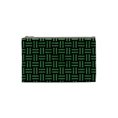 Woven1 Black Marble & Green Denim (r) Cosmetic Bag (small)  by trendistuff
