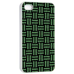 Woven1 Black Marble & Green Denim (r) Apple Iphone 4/4s Seamless Case (white) by trendistuff