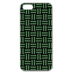Woven1 Black Marble & Green Denim (r) Apple Seamless Iphone 5 Case (clear) by trendistuff