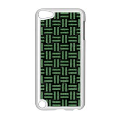 Woven1 Black Marble & Green Denim (r) Apple Ipod Touch 5 Case (white) by trendistuff