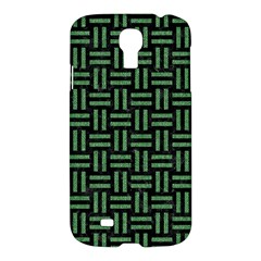 Woven1 Black Marble & Green Denim (r) Samsung Galaxy S4 I9500/i9505 Hardshell Case by trendistuff