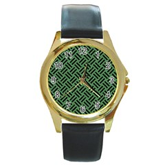 Woven2 Black Marble & Green Denim Round Gold Metal Watch by trendistuff