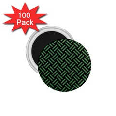 Woven2 Black Marble & Green Denim (r) 1 75  Magnets (100 Pack)  by trendistuff