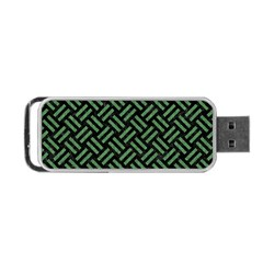 Woven2 Black Marble & Green Denim (r) Portable Usb Flash (two Sides) by trendistuff