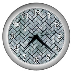 Brick2 Black Marble & Ice Crystals Wall Clocks (silver)  by trendistuff