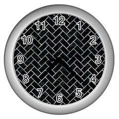 Brick2 Black Marble & Ice Crystals (r) Wall Clocks (silver)  by trendistuff