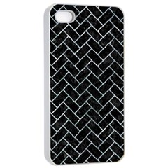 Brick2 Black Marble & Ice Crystals (r) Apple Iphone 4/4s Seamless Case (white) by trendistuff