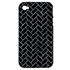 Brick2 Black Marble & Ice Crystals (r) Apple Iphone 4/4s Hardshell Case (pc+silicone) by trendistuff