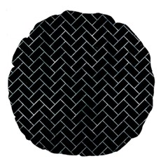 Brick2 Black Marble & Ice Crystals (r) Large 18  Premium Flano Round Cushions by trendistuff