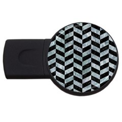 Chevron1 Black Marble & Ice Crystals Usb Flash Drive Round (2 Gb) by trendistuff