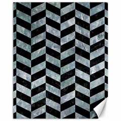 Chevron1 Black Marble & Ice Crystals Canvas 11  X 14   by trendistuff