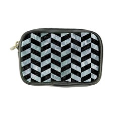 Chevron1 Black Marble & Ice Crystals Coin Purse by trendistuff