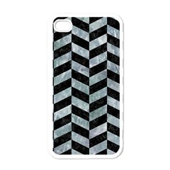 Chevron1 Black Marble & Ice Crystals Apple Iphone 4 Case (white) by trendistuff