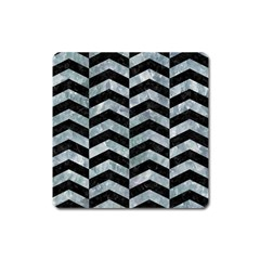 Chevron2 Black Marble & Ice Crystals Square Magnet by trendistuff