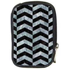Chevron2 Black Marble & Ice Crystals Compact Camera Cases by trendistuff