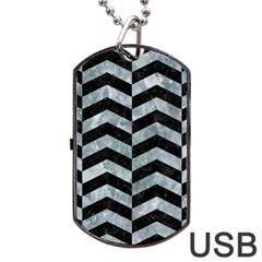 Chevron2 Black Marble & Ice Crystals Dog Tag Usb Flash (two Sides) by trendistuff