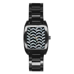 Chevron2 Black Marble & Ice Crystals Stainless Steel Barrel Watch by trendistuff