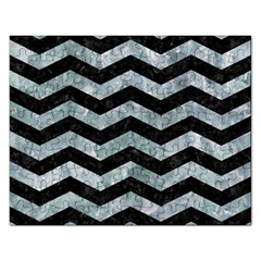 Chevron3 Black Marble & Ice Crystals Rectangular Jigsaw Puzzl by trendistuff