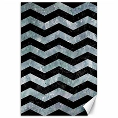 Chevron3 Black Marble & Ice Crystals Canvas 24  X 36  by trendistuff