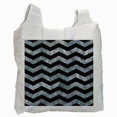 Chevron3 Black Marble & Ice Crystals Recycle Bag (two Side)  by trendistuff