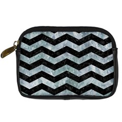 Chevron3 Black Marble & Ice Crystals Digital Camera Cases by trendistuff