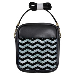 Chevron3 Black Marble & Ice Crystals Girls Sling Bags by trendistuff