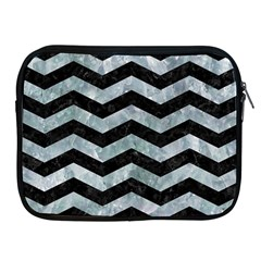 Chevron3 Black Marble & Ice Crystals Apple Ipad 2/3/4 Zipper Cases by trendistuff
