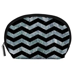 Chevron3 Black Marble & Ice Crystals Accessory Pouches (large)  by trendistuff