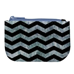 Chevron3 Black Marble & Ice Crystals Large Coin Purse by trendistuff