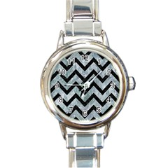Chevron9 Black Marble & Ice Crystals Round Italian Charm Watch