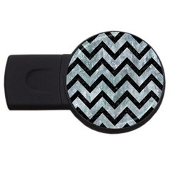 Chevron9 Black Marble & Ice Crystals Usb Flash Drive Round (2 Gb) by trendistuff