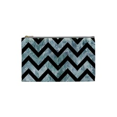 Chevron9 Black Marble & Ice Crystals Cosmetic Bag (small)  by trendistuff