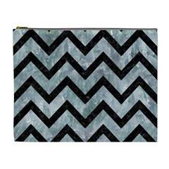 Chevron9 Black Marble & Ice Crystals Cosmetic Bag (xl) by trendistuff