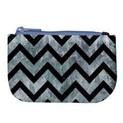 Chevron9 Black Marble & Ice Crystals Large Coin Purse by trendistuff