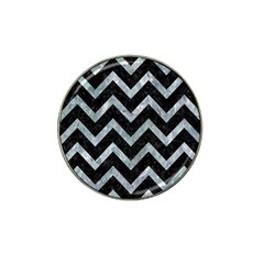 Chevron9 Black Marble & Ice Crystals (r) Hat Clip Ball Marker by trendistuff