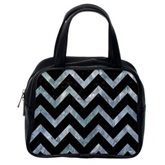 Chevron9 Black Marble & Ice Crystals (r) Classic Handbags (one Side) by trendistuff