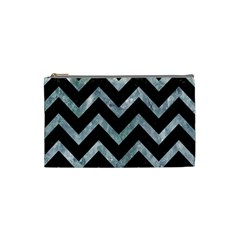 Chevron9 Black Marble & Ice Crystals (r) Cosmetic Bag (small)  by trendistuff