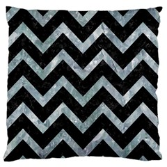 Chevron9 Black Marble & Ice Crystals (r) Large Flano Cushion Case (two Sides) by trendistuff