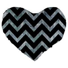 Chevron9 Black Marble & Ice Crystals (r) Large 19  Premium Flano Heart Shape Cushions by trendistuff
