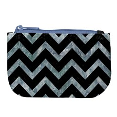 Chevron9 Black Marble & Ice Crystals (r) Large Coin Purse by trendistuff